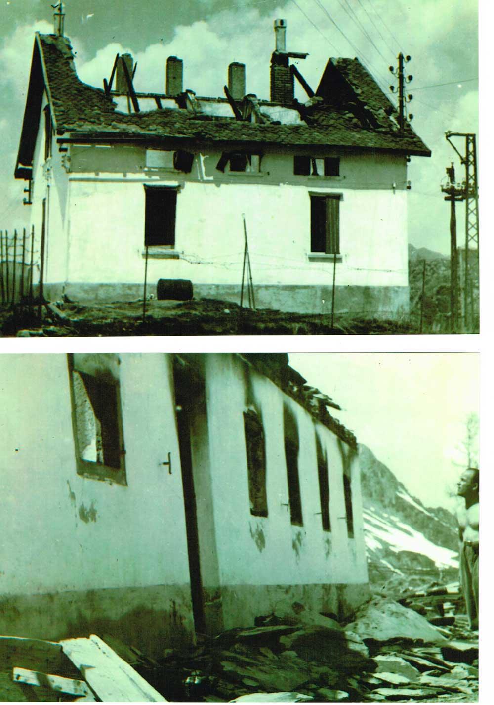 Rifugio Gemelli bruciato dai fascisti nel gennaio 1945
