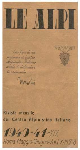 Copertina rivista Le Alpi - maggio giugno 1941